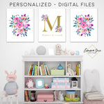 Gold & Watercolor Floral Personalized Baby Name & Initial Sign - Kid's Room Or Nursery Printable Wall Art  - Digital File (Name-floral2)