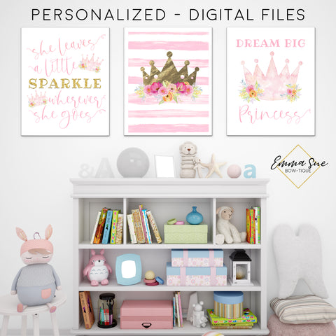 She Leaves a Little Sparkle Wherever She Goes - Dream Big Princess Watercolor Signs - Girl's Playroom - Baby Girl Nursery Printable Wall Art Sign- Digital File