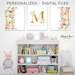 Peach Blush & Gold Watercolor Floral Personalized Baby Name & Initial Sign - Kid's Room Or Nursery Printable Wall Art  - Digital File (Name-Peach)