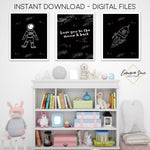 Outer Space Astronaut Rocket Ship Love you to the Moon and Back - Kid's Room Or Baby Nursery Printable Wall Art  - Digital File