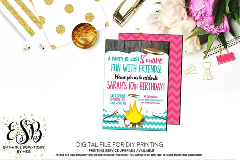 Girl's S'more Fun with Friends - Pink and Teal Chevron Birthday Party invitation Printable - Digital File  (smore-chevtteal)