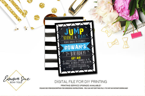 Jump Trampoline Park Kid's Birthday Invitation - Digital File Printable (TRAMP-blueyellow)