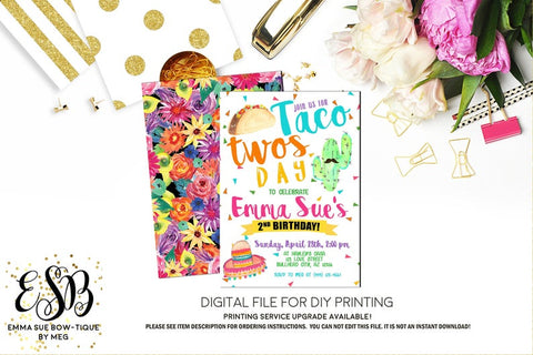 Girl's Taco Twos-day 2nd Birthday Party Invitation Printable - Digital File  (taco-twosday)