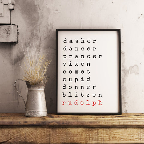 Dasher Dancer Prancer Vixen Santa's Reindeers - Christmas Printable Sign Farmhouse Style  - Digital File