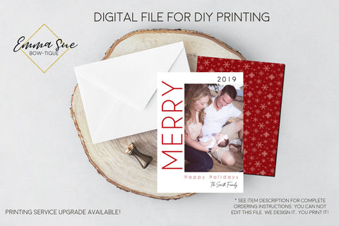 Merry Photo Christmas Card or Holiday Card - Digital File