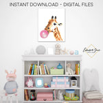 Watercolor Bubble Gum Giraffe Zoo Animal - Kid's Room Or Baby Nursery Printable Wall Art  - Digital File
