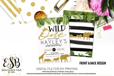 Boy's Wild One Jungle Safari - 1st Birthday Party invitation Printable - Digital File  (Wild-oneboy)