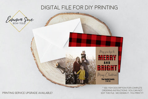 Merry & Bright - Kraft Paper Plaid Christmas Card Red & Black Buffalo Check  - Family Photo card - Digital File