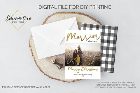 Merrier than ever - Gold Foiled Christmas Card Black and white buffalo check  - Family Photo card - Digital File