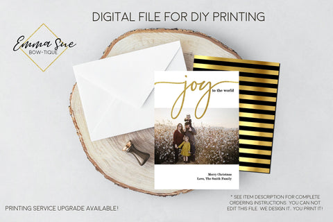Joy to the World - Religious Gold Foiled Christmas Card Black and gold stripe  - Family Photo card - Digital File