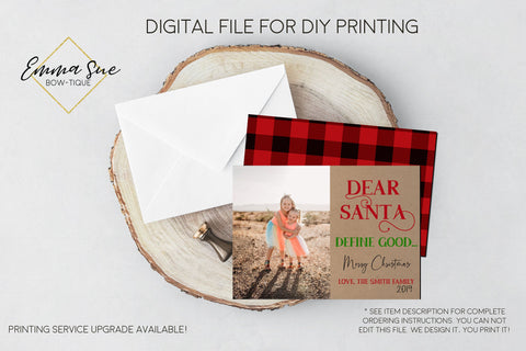 Dear Santa, Define Good - Kid's Christmas Card Kraft paper Plaid Red and Black Buffalo Check  - Family Photo card - Digital File