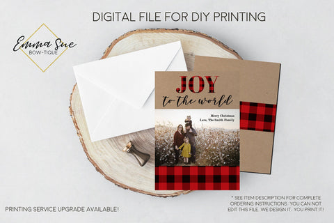 Joy to the World - Kraft Paper and Plaid Christmas Card Red & Black Buffalo Check  - Family Photo card - Digital File