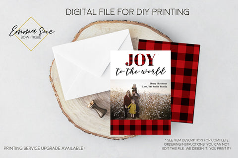 Joy to the World - Plaid Christmas Card Red & Black Buffalo Check  - Family Photo card - Digital File