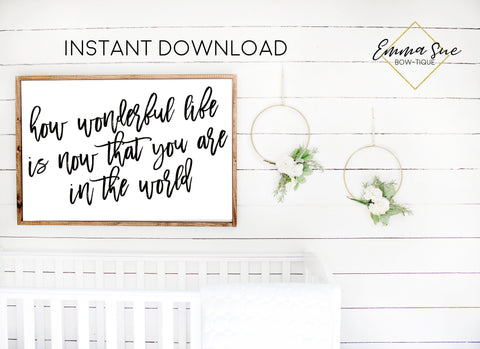 How wonderful life is now that you are in the world Baby Kids nursery room Printable Sign