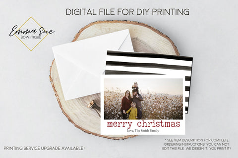Merry Christmas - Christmas Card Black & white stripes  - Family Photo card - Digital File