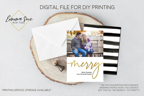 Merry - Gold Foiled Christmas Card Black & white Stripe  - Single Family Photo card - Digital File