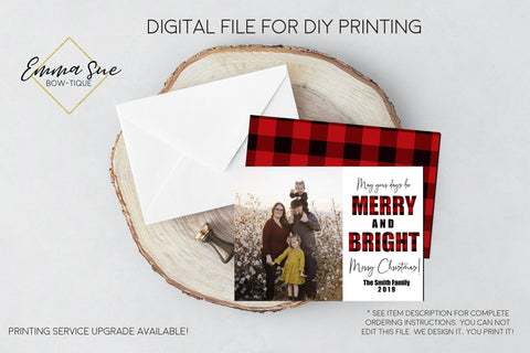 Merry & Bright - Plaid Christmas Card Red & Black Buffalo Check  - Family Photo card - Digital File