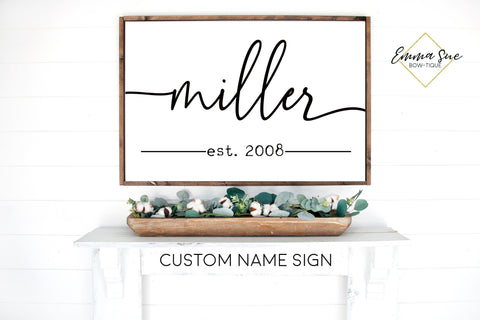Custom Last Name Established date Family Room Bedroom Large wall Sign handwritten script Farmhouse