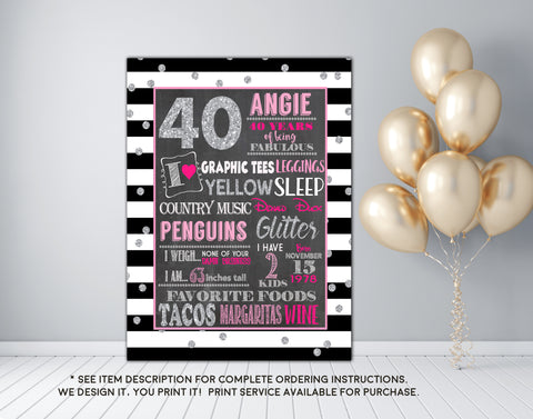 Adult smash cake Silver Glitter photo prop Birthday Chalkboard Sign - DIGITAL FILE