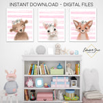 Woodland Forest Animals with Flowers Watercolor Signs - Bunny Fox Bear - Baby Girl Playroom or Nursery Printable Wall Art Sign- Digital File