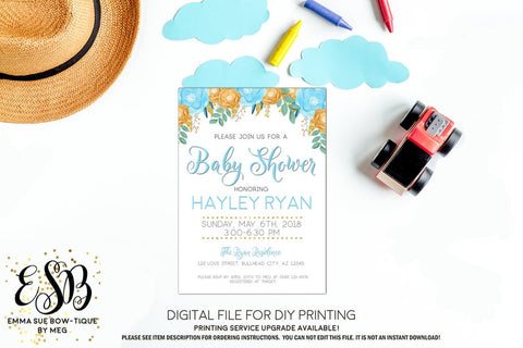 Watercolor baby blue & gold floral Boy Baby Shower Invitation- Digital Printable File  (Baby-boyfloral)
