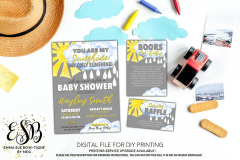 You are my Sunshine - Baby Shower Invitation- Digital Printable File  (Baby-sunshine)