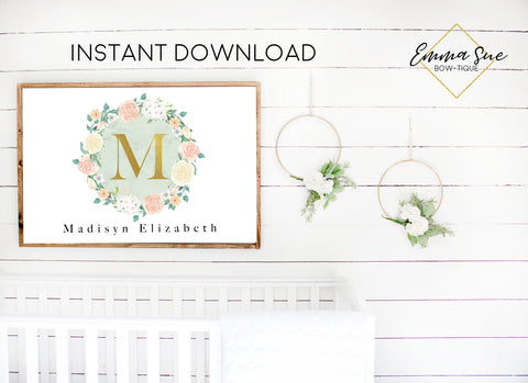 Watercolor Blush Mint Floral Wreath Personalized Gold Monogram Baby Name Sign - Kid's Room Or Nursery Printable Wall Art  - Digital File (Name-BlushMintwreath)