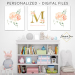 Peach Blush & Gold Watercolor Floral Personalized Monogram Baby Name Sign - Kid's Room Or Nursery Printable Wall Art  - Digital File (Name-Peachset2)