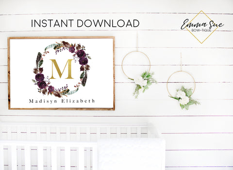 Boho Watercolor Plum Purple Floral Wreath Personalized Gold Monogram Baby Name Sign - Kid's Room Or Nursery Printable Wall Art  - Digital File (Name-Bohowreath)
