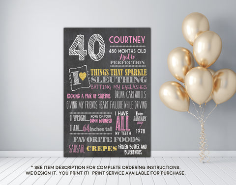 40th Birthday or any age - Adult smash cake photo prop Birthday Chalkboard Sign - DIGITAL FILE