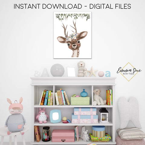 Woodland Floral Deer Wall Art - Nursery, Playroom, Bedroom Printable Sign  - Digital File - Instant Download