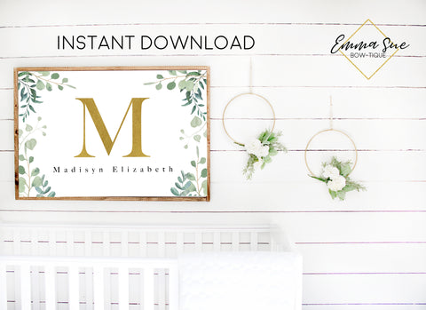 Watercolor Eucalyptus Greenery Gold Personalized Monogram Baby Name & Initial Sign - Kid's Room Or Nursery Printable Wall Art  - Digital File (Name-Peach36X24))