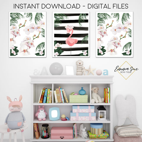 Watercolor Tropical Flamingo and Orchid Flowers Black & White Stripes - Girl's Playroom or Nursery Printable Wall Art Sign- Digital File
