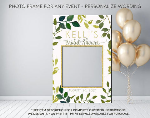 Greenery Eucalyptus leaves Bridal Shower or any event Photo Prop Frame Sign - Digital File (frame-Greenery)
