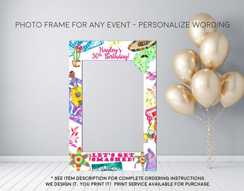 Fiesta Piñata Party Let's Get Smashed Photo Prop Frame (Frame-smashed)