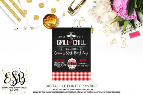 Grill & Chill Fish Fry- BBQ Adult Birthday Party Invitation Printable - Digital File  (Grill-fishfry)