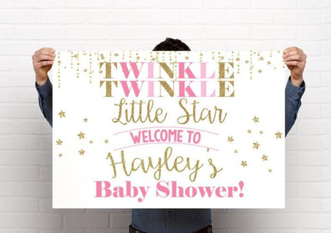 Pink Baby Girl Twinkle Twinkle Little Star Baby Shower or Birthday Welcome Sign - Party Decorations  - Digital File