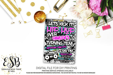 Let's Kick it Hip Hop 90's Birthday Party invitation Printable - Digital File  (hiphop-pnk)