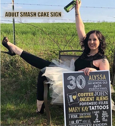 Milestone Adult smash cake photo prop - Any age Birthday Personalized Chalkboard Sign - DIGITAL FILE