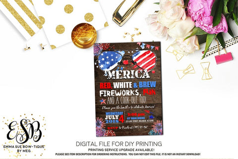 'Merica Patriotic Red White and Blue BBQ invitation Printable - Digital File  (Rwb-MericaBBQWood)