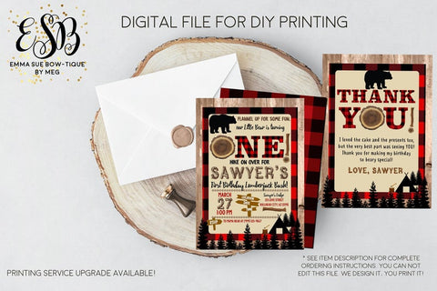 Flannel up for some fun Lil Lumberjack 1st Birthday Party invitation Printable - Digital File  (one-lumber)