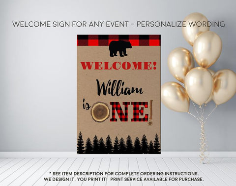 Flannel 1st Birthday Lumberjack Little Bear Buffalo Check Birthday Welcome Sign - Party Decorations  - Digital File