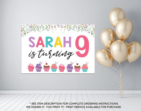 Girl's Baking Cupcake Party Birthday Welcome Sign - Party Decorations  - Digital File