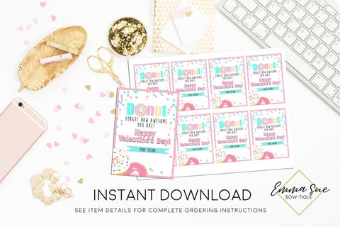 Girl's Donut Forgot how Awesome you are - Valentine's Day Card Printable - Digital File