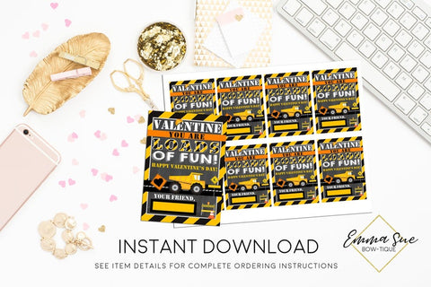 Valentine you are Loads of Fun- Construction Dump Truck - Kid's Valentine's Day Card Printable - Digital File - Instant Download