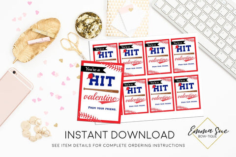 You're a Hit - Kid's Baseball Valentine's Day Card Printable - Digital File - Instant Download