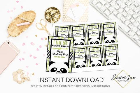 Panda Bear - I like you Beary Much - Kid's Valentine's Day Card Printable - Digital File - Instant Download
