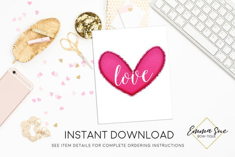 Love Valentine's Day Printable Sign, Valentine Party Decorations  - Digital File - INSTANT DOWNLOAD