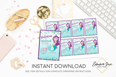 We Mermaid to be friends - Kid's Valentine's Day Card Printable - Digital File - Instant Download