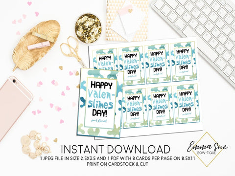 Slime - Happy Valen-Slime Day - Valentine's Day Card Printable - Digital File